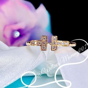 Tiffany & Co. Tiffany T Diamond Wire Ring in 18k Rose Gold, Size 5